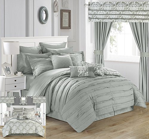Piece Comforter Set Complete Bed in a Bag Pleated Ruffles and Reversible Print with Sheet Set and Window Treatment, Queen Silver ()