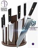 DALSTRONG Knife Set Block- Phantom Series 'Dragon Spire' Magnetic Walnut Block Holder - Japanese AUS-8 Steel - 6pc- Holds 12pc