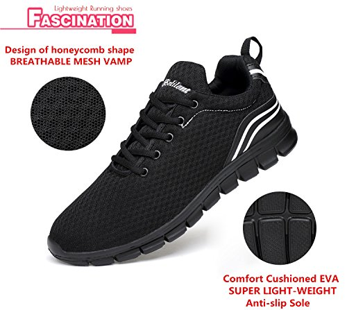 Belilent Womens Running Shoes - Lightweight Breathable Athletic Casual Shoes Fashion Sneakers All Black-815 l3vvMnrK