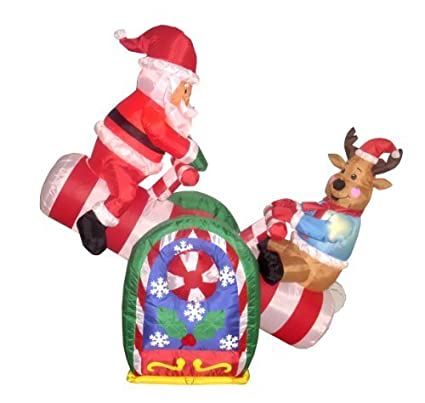 4 foot animated christmas inflatable santa claus and reindeer on teeter totter outdoor yard decoration - Christmas Deer Yard Decorations