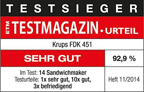 Krups Sandwichmaker FDK451 | für gegrillte Sandwichtoasts in Dreiecksform | Antihaftbeschichtete Platten (Leichte Reinigung, Kein Anbrennen) | Aufheiz- und Temperaturkontrollleuchte | 850W 6