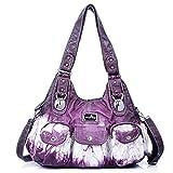 Handbag Hobo Women Handbag Roomy Multiple Pockets Street ladies' Shoulder Bag Fashion PU Tote Satchel Bag for Women (W7127Z Pureple)
