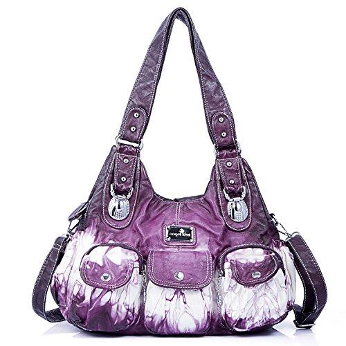 (Handbag Hobo Women Handbag Roomy Multiple Pockets Street ladies' Shoulder Bag Fashion PU Tote Satchel Bag for Women (W7127Z)