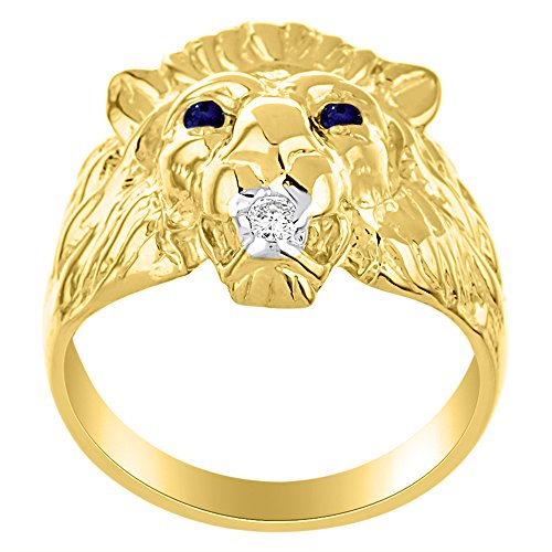 Lion Head Ring set with Genuine Diamond in mouth & Natural Sapphires in eyes Yellow Gold Plated over Silver .925 by Rylos (Image #3)