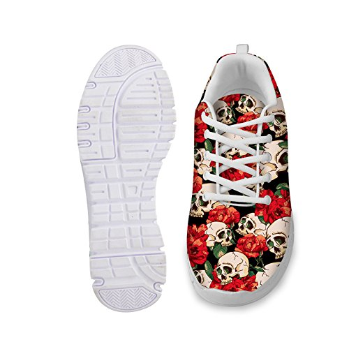 Cool Sneakers Light FOR Shoes Comfortable Fashion Weight White Red Lace Breathable Skull Skull Running DESIGNS up Print Women's U 00rw4q7E