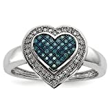 ICE CARATS 925 Sterling Silver Blue White Diamond Heart Band Ring Size 7.00 S/love Fine Jewelry Gift Set For Women Heart