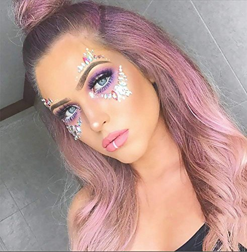 Face Jewels Glitter Temporary Tattoo With Tweezers Tool,6 Sets Body Rhinestone Jewelry Stickers Crystal Mermaid Eyes Tears Gems Stones For Festival Party Women by TTSAM (Image #2)