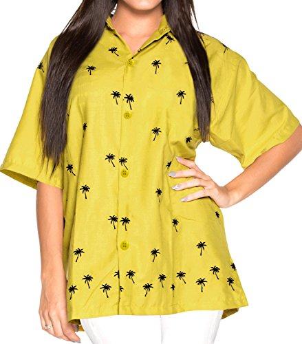 La Leela damas rayón ligera manga corta en 4 ropa playa vacaciones boho blusa mujeres la camisa 1 Hawaii partido tema la vendimia bordados salón hawaiano tapa verla túnica verde oliva
