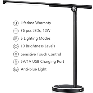 JUKSTG Desk lamp, 36 pcs LEDs 12W Dimmable Led Metal Table Lamps, Office Lamp with 10 Brightness Levels,5 Lighting Modes,USB Charging Port,Sensitive Touch Control,Eye-Caring Folding Desk Light,Black