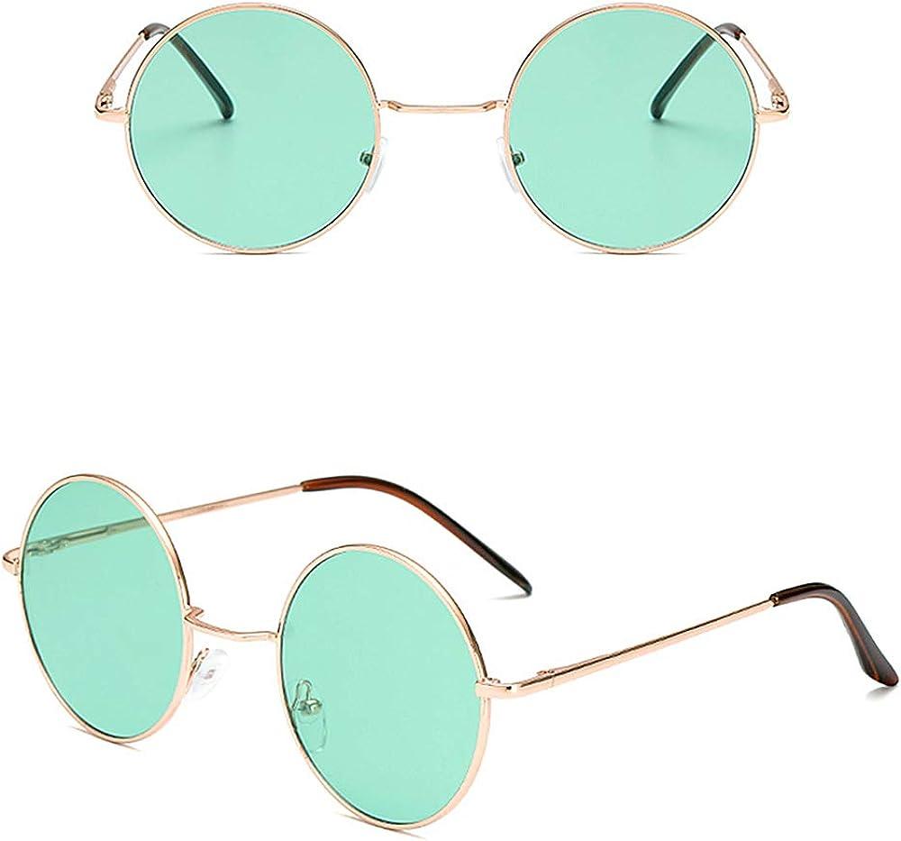 KATCOCO John Lennon 60's Hippie Circle Sunglasses WITH CASE Punk Round Retro Colored