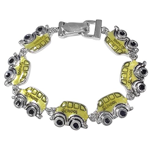 Silver Tone Colorful Epoxy - Gypsy Jewels Colorful Silver Tone Themed Linked Magnetic Clasp Bracelet (Yellow School Bus)