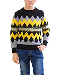 MFrannie Boys Argyle Check Long Sleeve Round Collar Thick Knits Sweater