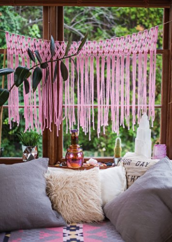 The House Phoenix Pink Bohemian Macrame Wall Hanging .