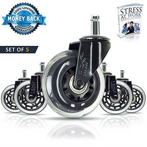 Office chair caster wheels by FirstOffices, Set of 5 HEAVY DUTY 650 lb 3 inch Replacements Rollerblade Rubber Universal fit, Safe for Hardwood & Carpet Floor, Smooth & Quiet, REPLACE YOUR CHAIR MAT!