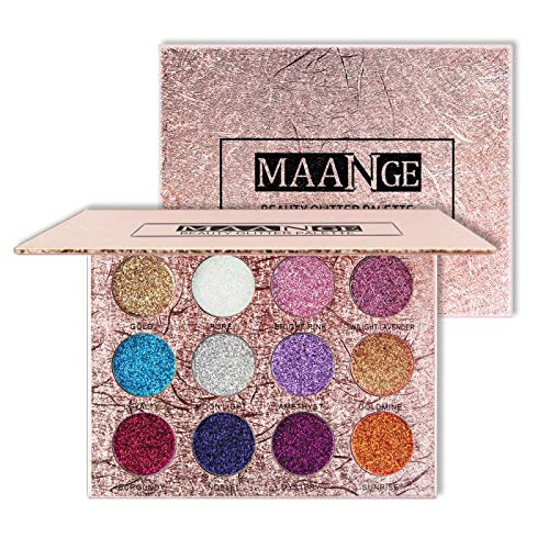12 Colors Diamond Glitters Easy To Wear Powder Golden Eyeshadow Magnet Palette Pressed Shiny Makeup as show