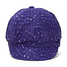 Glitter Sequin Trim Newsboy Style Relaxed Fit Cap (Purple)