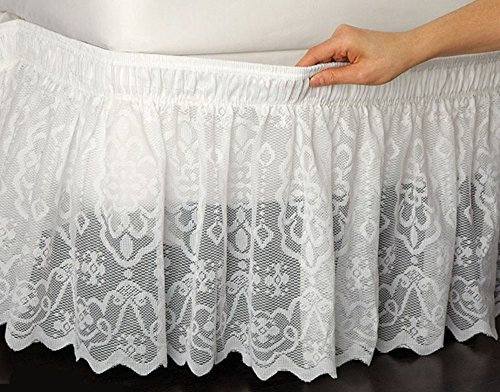 Lace Wrap Around Wrap - Wrap-Around Queen/King Lace Bedskirt Dust Ruffle Bed Skirt White