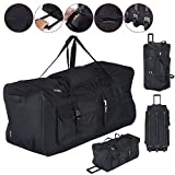 TANGKULA 36'' Rolling Wheeled Tote Duffle Bag Carry On Luggage Travel Suitcase Black
