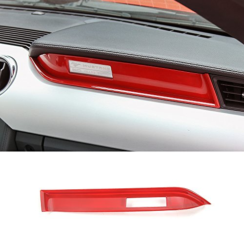 Trim Panel Center (Car co-pilot center console panel cover trim frame for Ford mustang 2015-2017 (Red))