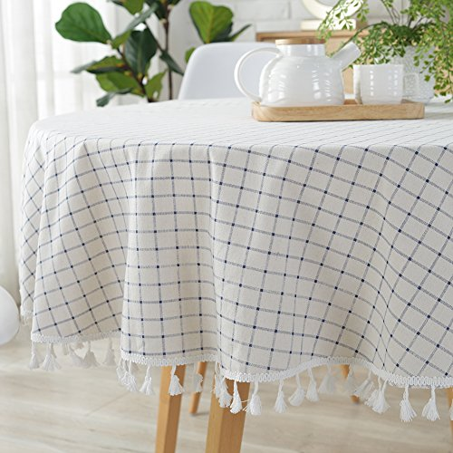 ColorBird Checkered Tassel Tablecloth Cotton Linen Dust-Proof Table Cover for Kitchen Dinning Tabletop Decoration (Round, 60 Inch, White/Blue)