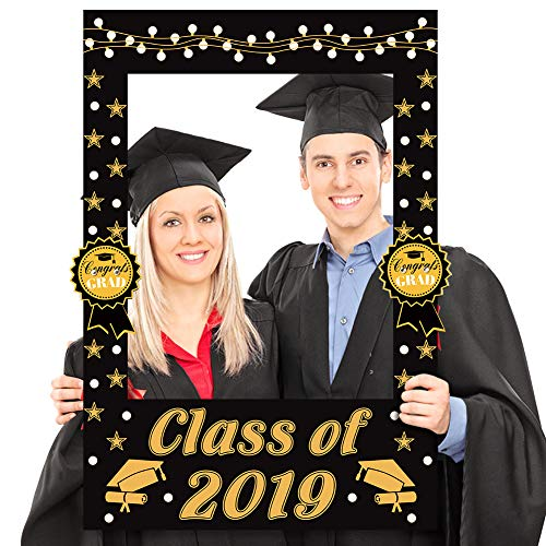 2 in 1 Graduation Photo Booth Props Frame Congratulations 2019 Graduation Party -