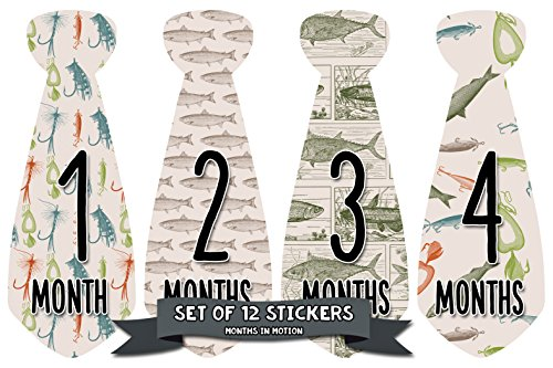 Months In Motion Monthly Baby Tie Stickers | Boy Month Milestone Necktie Sticker | Onesie Month Sticker | Infant Photo Prop for First Year | Shower Gift | Newborn Keepsakes | Fish Fishing ()