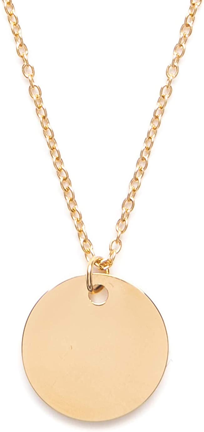 Happiness Boutique Women Circle Necklace Gold Plated Minimalist Delicate Necklace Round Pendant Geometric Design