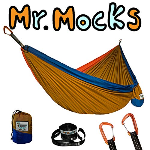 Mr. Mocks Double Hammock with Light Weight Tree Straps and 12kN Aluminum Wire gate carabiners