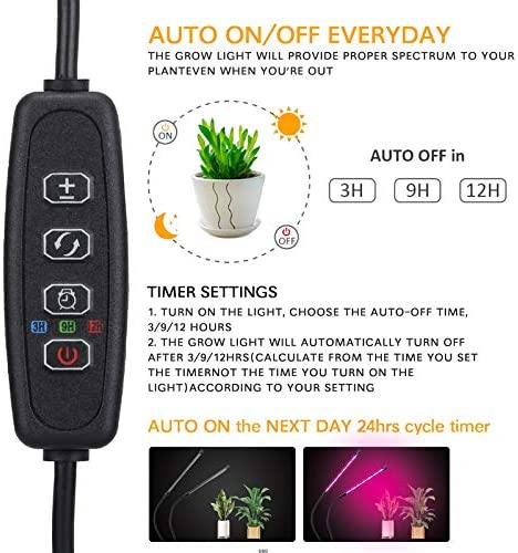 Grow Lights for Indoor Plants – KITHELP Plant Lights for Indoor Plants Full Spectrum – 80 Red-Blue LED, Auto ON Off 3 9 12H Timer, 9 Dimmable Brightness – Indoor Grow Light for Plants Seed Starting