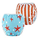 #5: Anmababy 2 Pack Reusable Swim Diaper, Adjustable and Washable Ultra-Premium Quality Baby Swim Diapers for Baby Shower Gifts & Infant Swimming Lessons. Fit for 0-2 Years(8-35LB) (S, Red)