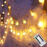 Liwiner LED Fairy String Lights with【 Remote& Timer】16FT 50Leds 8 Modes Battery Operated Globe String Lights for Indoor/Outdoor Bedroom Christmas Wedding Warm White
