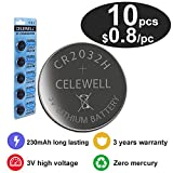 CELEWELL 10 CR 2032 3V Batteries CR2032 H 230mAh High Capacity Lithium Coin Button Cell