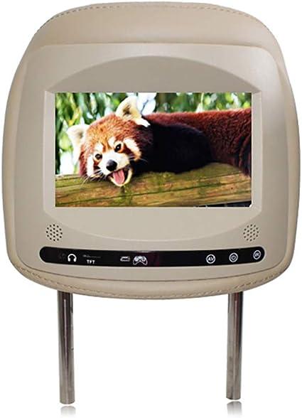 Reproductor LED para Reposacabezas De Coche, Monitor Pantalla TáCtil HD Universal De 7 Pulgadas, Monitor De TV con Respaldo, Soporte para Disco TF/SD/USB/U, InstalacióN No Destructiva,Beige: Amazon.es: Coche y moto