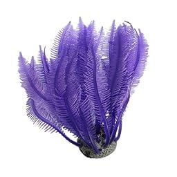Jardin Soft Silicone Coral Shaped Ornament with Concrete Base for Aquarium, Purple
