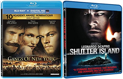 Gangs of New York & Shutter island Blu Ray 2 Pack Crime Movie Leonardo DiCaprio Martin Scorsese Bundle Set