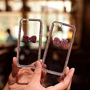 LCJ 5.5 Inch The Crystal Bowknot with Diamond Hard Back Cover for iPhone 6 Plus (Assorted Colors) , Pink