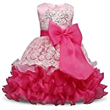 NNJXD Girl Ruffles Vintage Embroidered Sequins Flower Wedding Dress Size 2-3 Years Rose