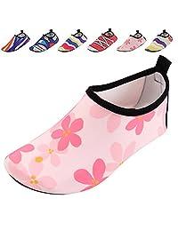 SUADEX Unisex Kids Summer Outdoor Water Shoes Aqua Socks Skin Barefoot Shoes for Beach Swim Surf Yoga Exercise Boys Girls