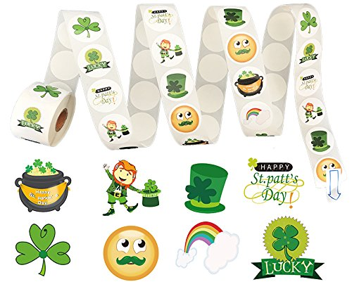 St. Patrick's Day Roll Stickers (500 Piece)-Shamrock/Leprechaun/Hat/Lucy- Party Favors Decorations
