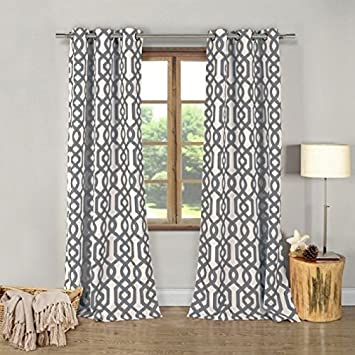 Amazon.com: Ashmont Gray Modern Geometric Curtains Panel, Dark ...
