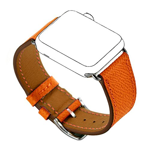 Maxjoy Compatible with Apple Watch Band, Genuine Leather Bands 38mm 40mm Watch Strap Replacement Wristband with Metal Clasp Compatible with Apple iWatch Series 4 3 2 1 Sport Edition, Orange