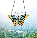 Makenier Tiffany Style Stained Glass Butterfly Window Hanging Sun Catcher