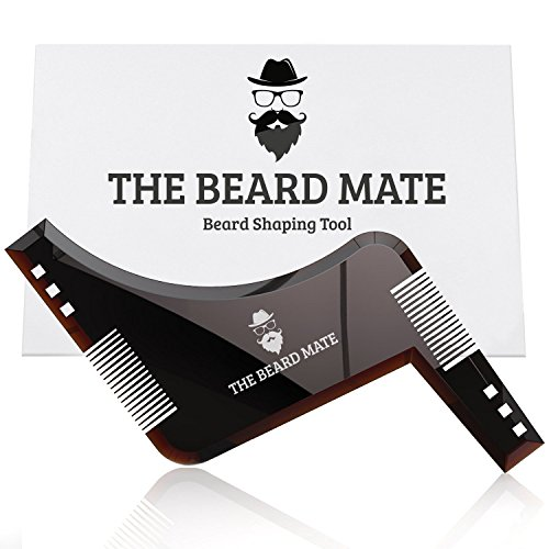 Beard shaping tool & styling template PLUS inbuilt comb for perfect line up & edging, use this amazing beard shaper stencil with a beard trimmer or razor to style your ()