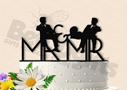 Mr and Mr In Love Same Sex Wedding Cake Topper by Bee3DGifts
