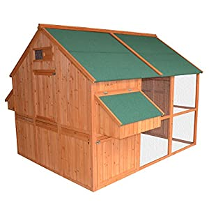 Pawhut Extra Large Backyard Wood Chicken Coop Poultry Hen House with Nest Box and Run
