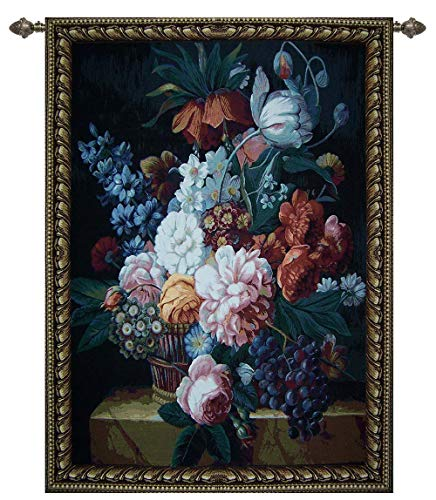 Signare : Italian Style Flower and Grape Woven Wall Tapestry, Wall Hanging, Wall Art, Throw Rug, 40W x 54D inch, Floral Fabrics (WH-FPG)