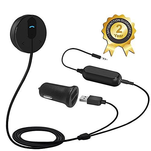 Besign BK01 Bluetooth 4.1 Freisprecheinrichtung: Freisprechanlage und kabelloses Streaming über die KFZ Lautsprecher, mit 3.5 mm Klinke, Magnetic Base, Ground Loop Noise Isolator / Entstörfilter and Dual USB port Kfz Ladegerät 2A