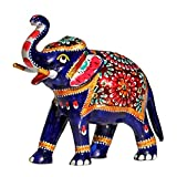 SouvNear 6.4 Inch Trunk-Up Elephant Statue with White Metal Work - Collectible Animal Figurines Symbol of Good Luck Power Strength