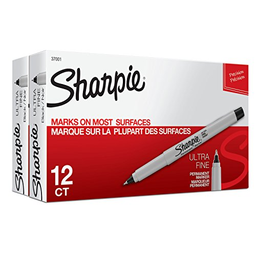 Sharpie Ultra Fine Tip Marker - Sharpie Permanent Markers, Ultra-Fine Point, Black, 24-Count