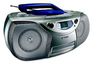 Philips CD Soundmachine AZ101/00C - Microcadena (Azul, Plata, Mecánico, 1 cubierta(s), 1 discos, Parte superior, 2 W)